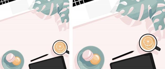 Плоская планировка с ноутбуком, макаронами, чашкой чая и листьями монстеры