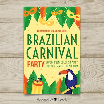 Flat leaves brazilian carnival party poster