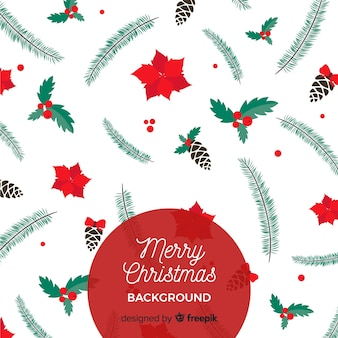 Flat leaves and flowers christmas background