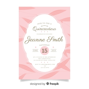 Flat leaves quinceanera card template