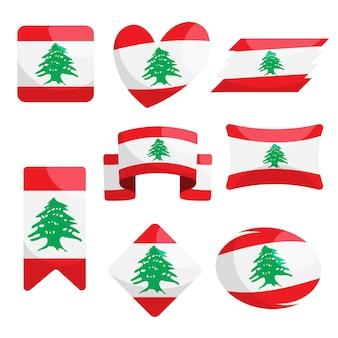 Collezione di bandiera libanese piatta