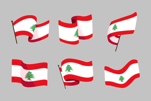 Pacchetto bandiere libanesi piatte