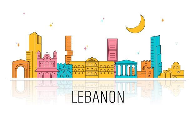 Skyline piatto del libano illustrato