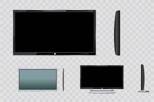 Flat led monitor of computer or black photo frame isolated on a transparent background. blank screen lcd,  plasma,  panel or tv for your design.