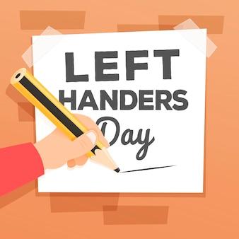 Flat left handers day concept
