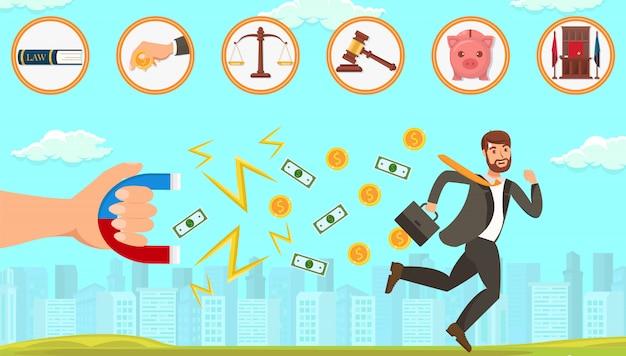 債務者との取引における平らな法的支援。