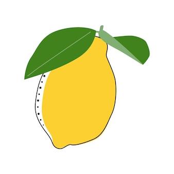 Flat lemon isolated vector illustration. pattern for healthy lifestyle design. scandinavian style. vegetarian summer backdrop. kitchen art. fresh poster.
