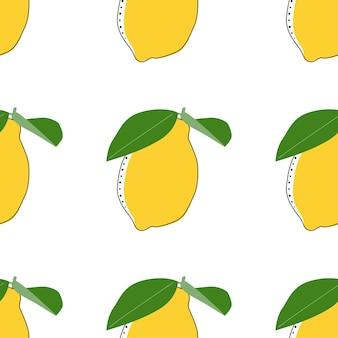 Flat lemon seamless background vector illustration. exotic fruits. pattern for healthy lifestyle design. scandinavian style. vegetarian summer backdrop. kitchen art. fresh poster.