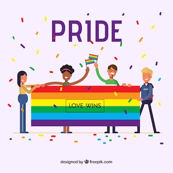 Flat lgtb pride background with confetti