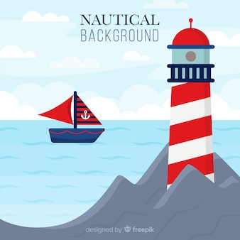 Flat lighthouse nautical background
