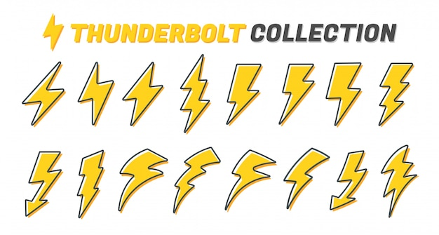 Flat lightning icon set.