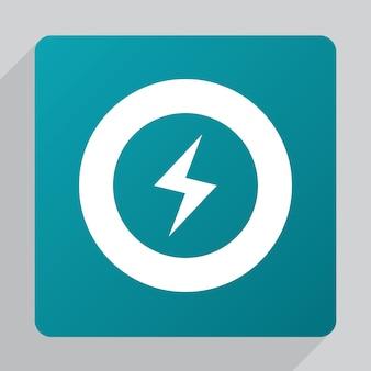 Flat lightning icon, white on green background