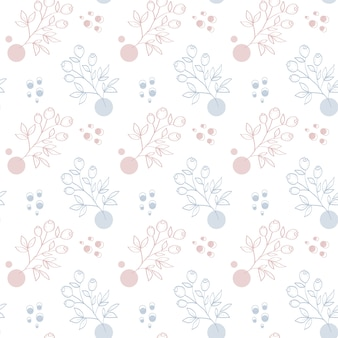 Flat line art hand drawn floral with berries seamless pattern