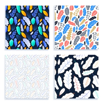Flat and line art leaves seamless pattern set