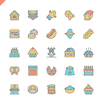 Flat line bakery shop elements icons set