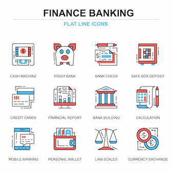 Flat line banking and finance icons concepts set