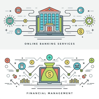 Flat line banking and financial management concept illustration