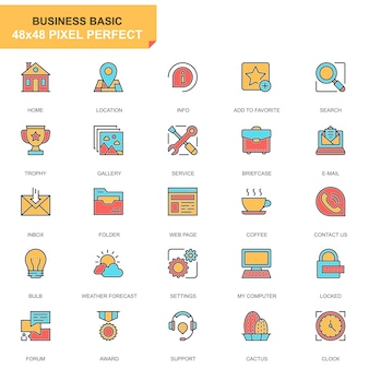 Flat line basic icons set