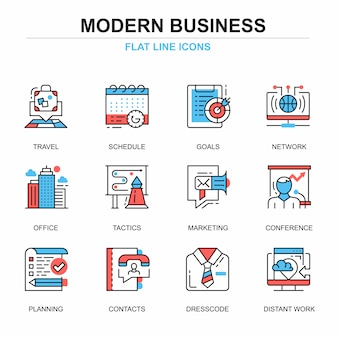 Flat line business and development icons concepts set