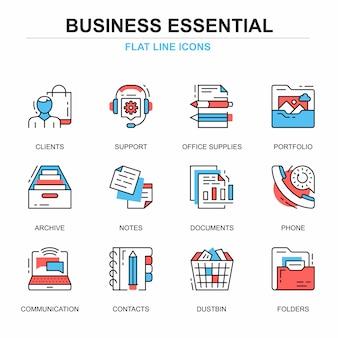 Flat line business essential icons concepts set