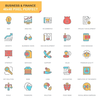 Flat line business and finance icons set
