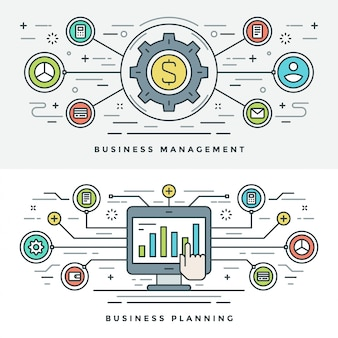 Flat line business management and planning concept illustration