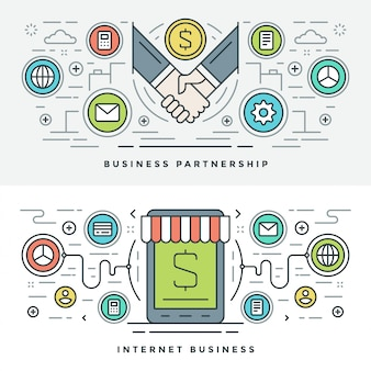 Flat line business partnership and internet. vector illustration.
