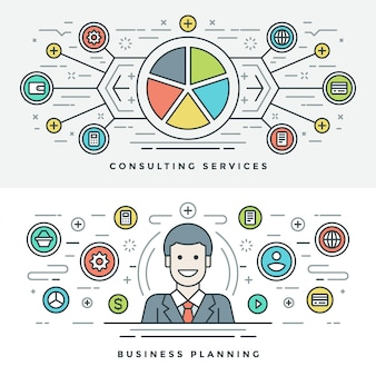 Flat line business planning and consulting. illustration.