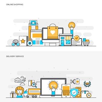 Концепция цвета плоской линии - интернет-магазин и служба доставки-цвет