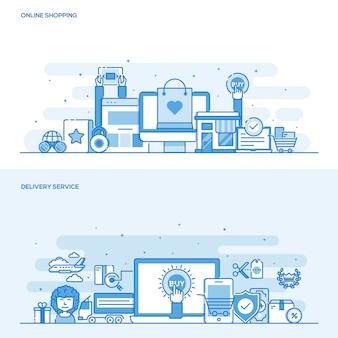 Концепция цвета плоской линии - интернет-магазин и служба доставки