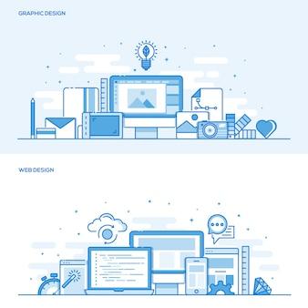 Flat line color concept- web and graphic design