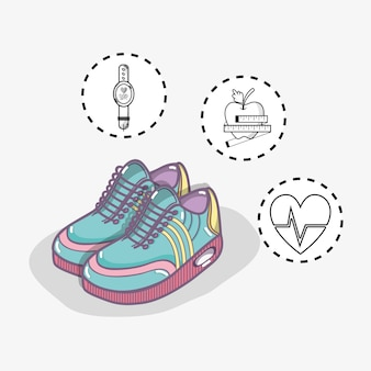 Flat line comfortable sneakers with fitness benefits