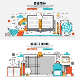 Flat line concept education and back to school