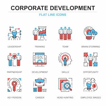 Flat line corporate development icons concepts set