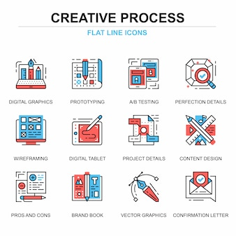 Flat line creative process icons concepts set