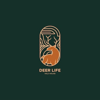 Flat line deer logo illustration