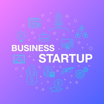 Flat line design of business startup icons.