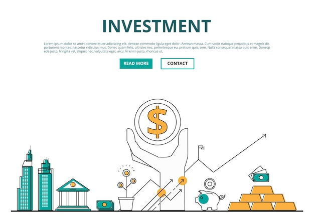Flat line design concept of financial and investment.