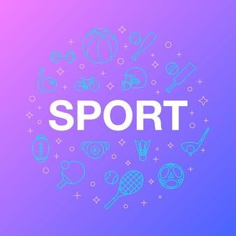 スポーツアイコンのフラットラインデザイン。