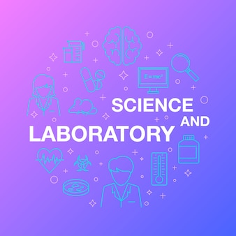 Flat line design of science and laboratory icons.