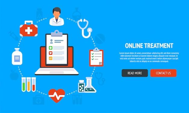 Webデザイン、マーケティング、印刷物のためのオンライン医療サービスのフラットラインデザインのウェブサイトのバナー。