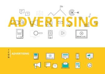 フラットラインデザインワードアイコンと要素を使った広告