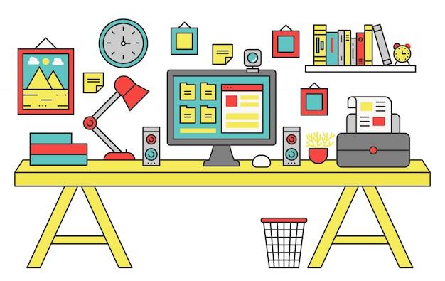 Flat line design workplace desk