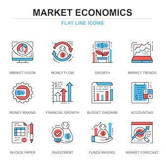 Flat line global market economics icons concepts set