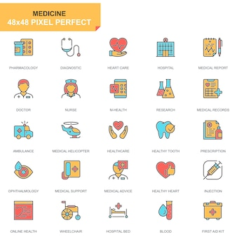 Flat line healthcare and medical icons set