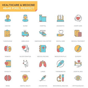 Flat line healthcare and medicine icons set