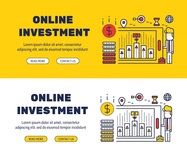 Flat line icons design of online investment and elements