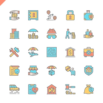 Flat line insurance elements icons set