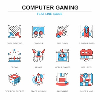Flat line leisure mobile gaming icons concepts set