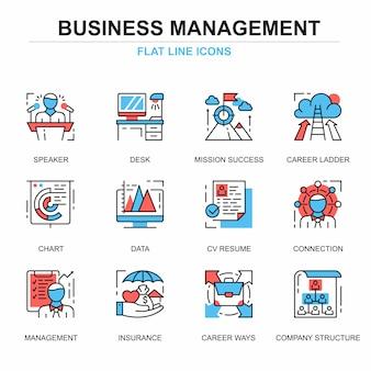 Flat line management icons concepts set